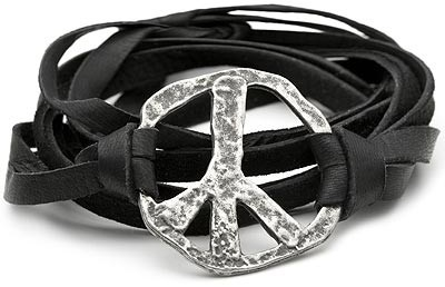 Gypsy 05 String Cuff with Peace Sign in Black