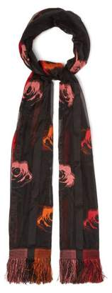 Alexander McQueen Floral Silk Blend Fil Coupe Scarf - Womens - Red