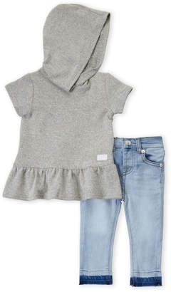 7 For All Mankind Toddler Girls) Two-Piece Hooded Peplum Top & Skinny Jeans Set