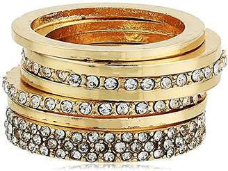 GUESS Womens Five-Piece Dainty Stack Ring Set /Crystal 7 One Size