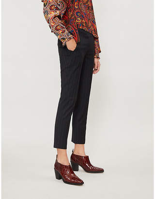 BA&SH Bango pinstriped high-rise slim-fit woven trousers