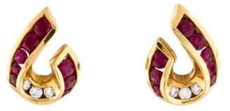 Charles Krypell 18K Ruby & Diamond Earclips yellow 18K Ruby & Diamond Earclips