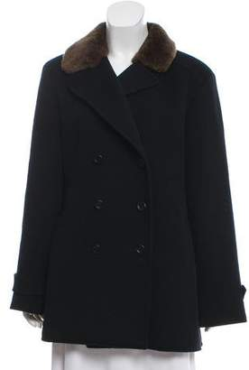 Valentino Wool Faux Fur-Trimmed Coat