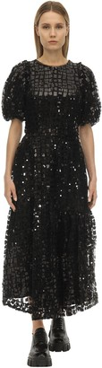 Simone Rocha Grid Sequin Embellished Midi Dress