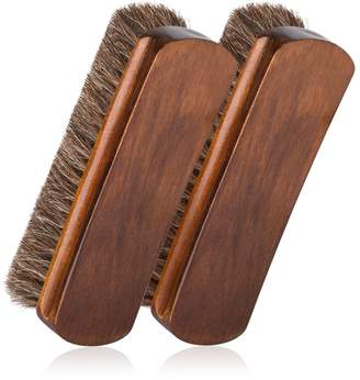 """Foloda 6.7"""" Horsehair Shoe Shine Brushes with Horse Hair Bristles for Boots, Shoes & Other Leather Care"""