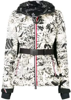 Moncler flowers print puffer jacket