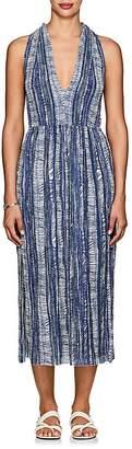 Raquel Allegra Women's Abstract-Print Crinkled Linen-Cotton Midi-Dress