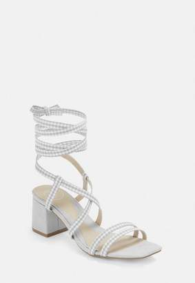 Missguided Gray Gingham Cork Heel Asymmetric Lace Up Sandals