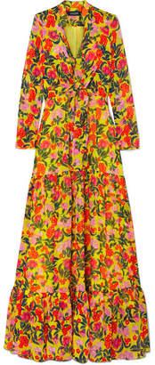 Saloni Alexia Tiered Floral-print Silk-chiffon Maxi Dress