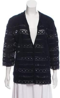 Rena Lange Crochet-Accented Open Front Cardigan Navy Crochet-Accented Open Front Cardigan