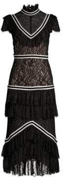 Alice + Olivia Annetta Mixed Media Tiered Ruffle Illusion Dress