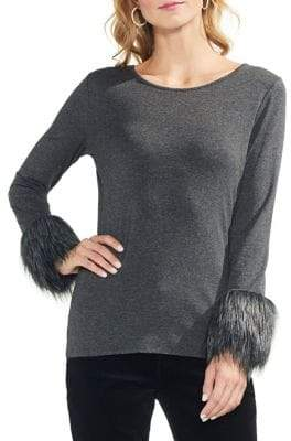 Vince Camuto Petite Estate Jewels Heathered Faux Fur Top