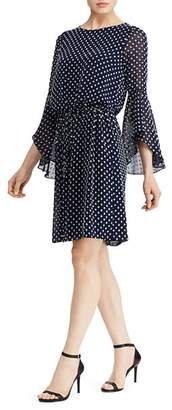 Ralph Lauren Flutter-Sleeve Dot-Jacquard Dress