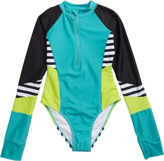 b272eddc2315a Limeapple Louise Long Sleeve One-Piece Rashguard Swimsuit