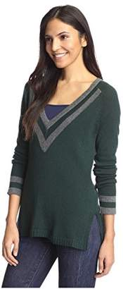 Cashmere Addiction Women's Tipped V-Neck Tunic Sweater,M