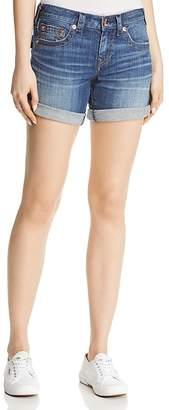 True Religion Jayde Flap Mid-Rise Denim Shorts in Hardwire Blue