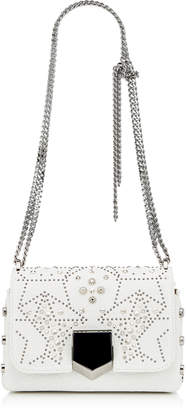 Jimmy Choo LOCKETT PETITE Chalk Mix Grainy Leather Shoulder Bag with Graphic Star Studded Embellishment