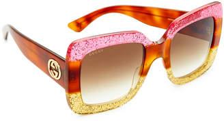 Gucci Square Urban Web Block Sunglasses