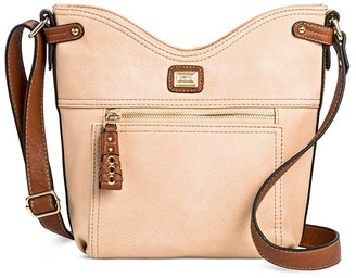 Bolo Women's Faux Leather Crossbody Handbags with Zip Closure - Stone Cream $34.99 thestylecure.com