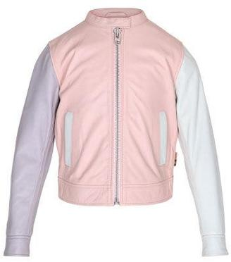 Molo Hope Colorblock Leather Moto Jacket, Pink, Size 4-14 $249 thestylecure.com