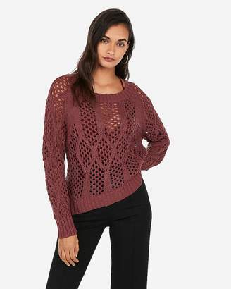 Express Cable Open Stitch Pullover Sweater