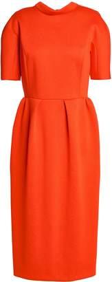 DELPOZO Tie-back Pleated Scuba Midi Dress