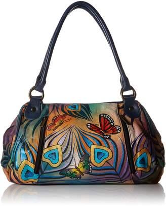 Anuschka Anna by Women's Genuine Leather Ruched Hobo Shoulder Bag | Original Artwork |