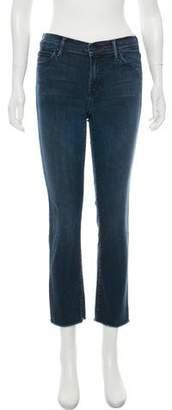 Mother Fringe-Trimmed Mid-Rise Straight-Leg Jeans