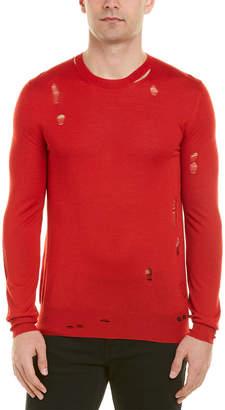 Alexander McQueen Distressed Crewneck Wool & Silk-Blend Sweater