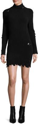 Yeezy Destroyed Knit Mock-Neck Dress, Black