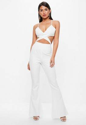 Missguided White Strappy Cross Front Cut Out Flare Leg Romper