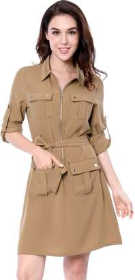 Allegra K Women's Roll up Sleeves Multi-Pocket Belted Shirt Dress M