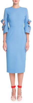 Roksanda Bow-Embellished Sheath Midi Dress