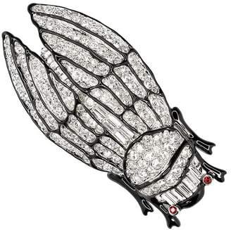 Kenneth Jay Lane Crystal Cicada Brooch