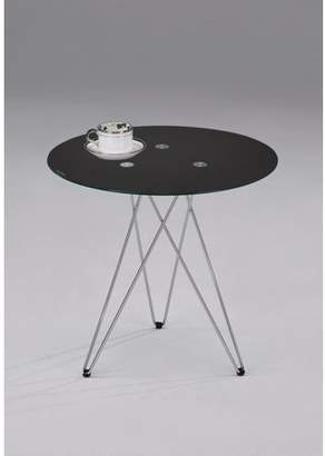 """Pilaster Designs Madeira 20"""" 3 Legged Chrome Metal & Black Tempered Glass Top Modern Round Side End or Bedside Table"""