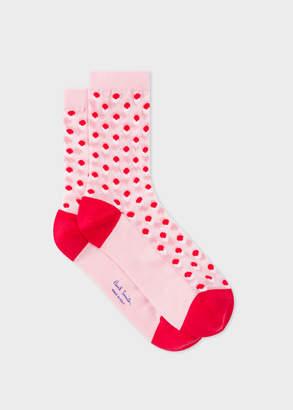 Paul Smith Women's Light Pink 'Eclipse Spot' Semi-Sheer Socks