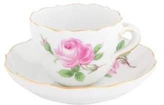 Meissen 2-Piece Roses Demitasse Cup & Saucer Set