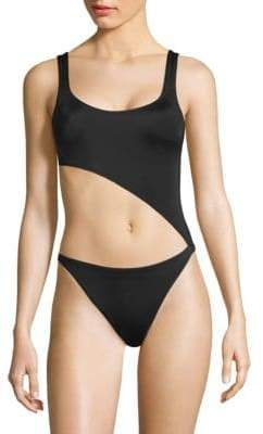Jourdan Solid and Striped Solid and Striped X Swim Team One-Piece Swimsuit