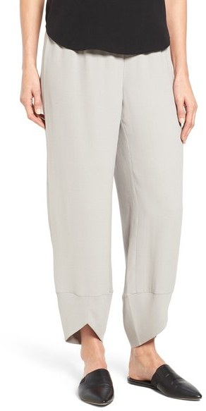 Eileen Fisher Silk Georgette Crepe Ankle Pants