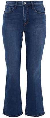L'Agence Cropped Faded High-Rise Flared Jeans