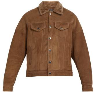 Amiri Oversized Shearling Trucker Jacket - Mens - Brown