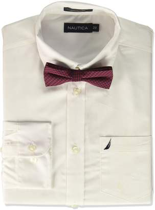 Nautica Big Boys Long Sleeve Button Down Shirt With Bow Tie