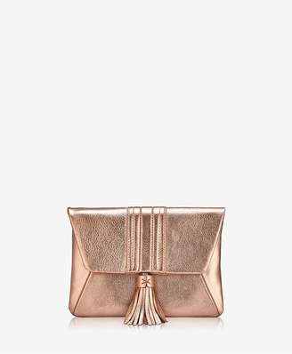 GiGi New York Ava Clutch In Rose Gold Metallic Goatskin