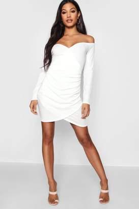 57e58aa08b9 boohoo Soft Knit Off The Shoulder Wrap Dress