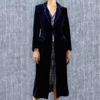 M·A·C Nancy Mac Silk Velvet 1940's Style Coat In Midnight Blue