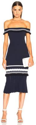 Jonathan Simkhai Ruffle Off Shoulder Midi Dress