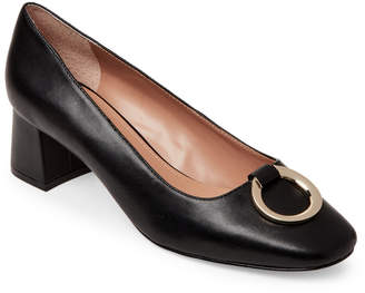 Tahari Black Mavis Leather Block Heel Pumps