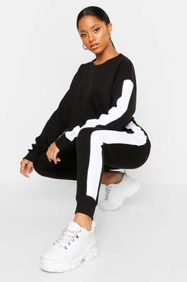 boohoo Side Stripe Cropped Crew Neck Jogger Set