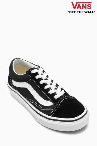 Boys Vans Black/White Old Skool - Black
