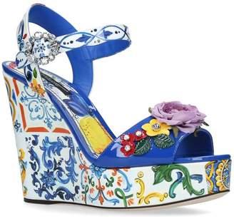 Dolce & Gabbana Floral Belucci Wedge Sandals 120